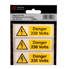 Danger 230 Volts - Pack of 5 SAV (75 x 25mm)