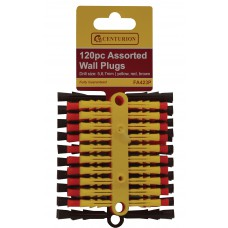 Display Box - 120 Assorted Wall Plugs - Yellow Red Brown - 1200 Pieces