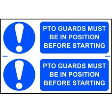 PTO guards must be in position before starting - PVC (300 x 200mm)