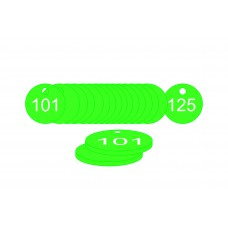 33mm dia. Traffolite Tags - Green (101 to 125)