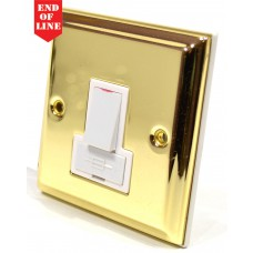Victorian Brass Switched Fuse Spur - White Switch