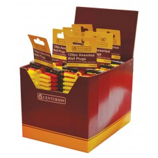 120 Assorted Wall Plugs - Yellow, Red & Brown (Display Box 1200 pieces)