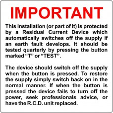 Important RCD Test Label - Pack of 5 SAV (75 x 75mm)