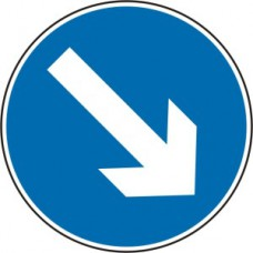 600mm dia. Dibond 'Down/Right Arrow' Road Sign (with channel)