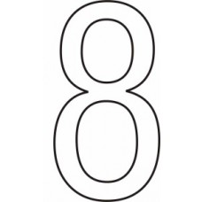 50mm White Vinyl - Character '8'   (Pack of 10)