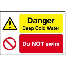 Quarry Sign: Danger Deep cold water / Do not swim - DIB (600 x 400mm)