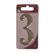 """3"""" Silver Effect Numeral 3"""