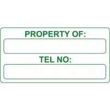 Property of & Tel No - Self Laminating Labels  (50 x 25mm Roll of 250)