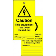 Lockout tags - Caution This equipment has been lockout out (Double sided 10 pack)