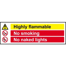 Highly flammable No smoking No naked lights - RPVC (600 x 200mm)