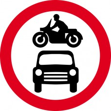 600mm dia. Dibond 'Motor Vehicles Prohibited' Road Sign (with channel)