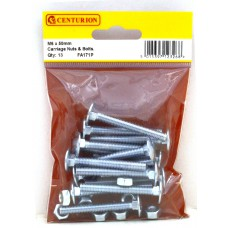 M6 x 50mm ZP Small Carriage Bolts & Nuts (Pack of 13)