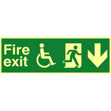 Disabled fire exit man running arrow down - PHS (450 x 150mm)