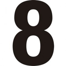75mm Black Helvetica Bold Condensed Style Vinyl Number 8   (Pack of 10)