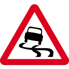600mm tri. Temporary Sign & Frame - Slippery road surface