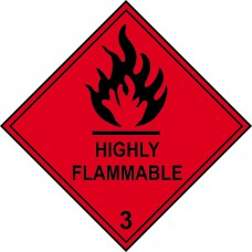 Highly flammable 3 - Labels (100 x 100mm Roll of 250)