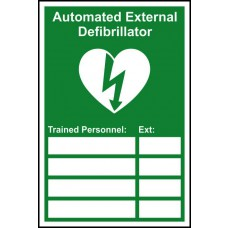 Automated External Defibrillator Trained Personnel- RPVC (200 x 300mm)
