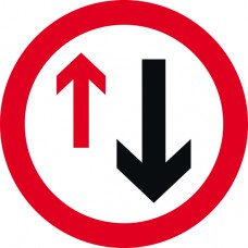 450mm dia. Dibond 'Give Way to Oncoming Traffic' Road Sign (with channel)