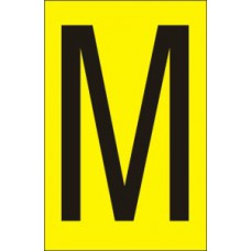 75mm Yellow Vinyl - Character 'M'   (Pack of 10)