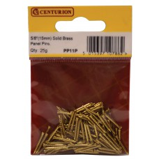 15mm Solid Brass Panel Pins (25g)