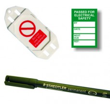 PAT Testing Mini Tag Insert Kit - Green (20 AssetTag holders, 40 inserts, 1 pen)