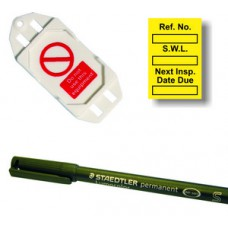 Safe Working Load Mini Tag Insert Kit - Yellow (20 AssetTag holders, 40 inserts, 1 pen)