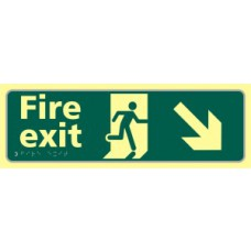 Fire exit man running arrow down/right - TaktylePh (450 x 150mm)