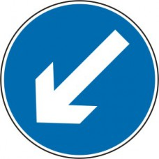600mm dia. Dibond 'Down/Left Arrow' Road Sign (with channel)