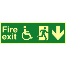 Disabled fire exit man running arrow down - PHO (450 x 150mm)