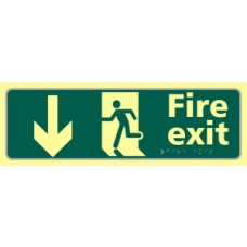 Fire exit man running arrow down - TaktylePh (450 x 150mm)