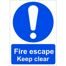 Fire escape Keep clear - SAV (210 x 148mm)