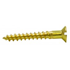 "1 1/2"" x 10 SC Slotted Brass Woodscrews with Countersunk Head"