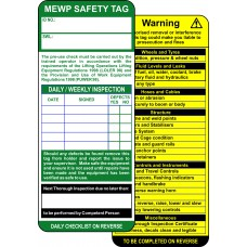 MEWP Tag Inserts (Pack of 10)