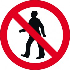 450mm dia. Dibond 'No Pedestrians' Road Sign (with channel)