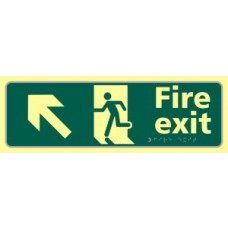 Fire exit man running arrow up/left - TaktylePh (450 x 150mm)