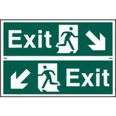Exit man running arrow diagonally down left/right - PVC (300 x 200mm)