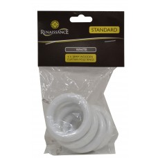 Renaissance Wooden Curtain Rings White 28mm 4pk