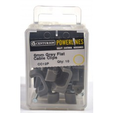 6mm Flat T+E Grey Cable Clip  (Pack of 10)
