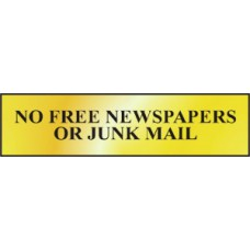 Sign/Sticker - No free newspapers or junk mail - POL (200 x 50mm)