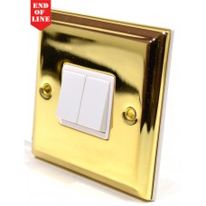 Victorian Brass Double Switch - White Switch