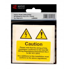 Caution Mixed Cable Notice - Pack of 5 - SAV (75 x 75mm)