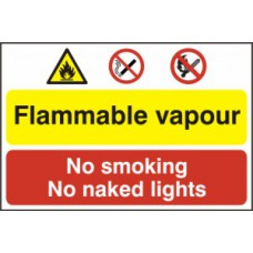 Flammable vapour / No smoking or naked lights - PVC (600 x 400mm)