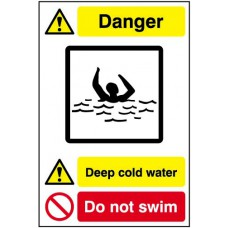 Quarry Sign: Deep cold water / Do not swim - FMX (400 x 600mm)