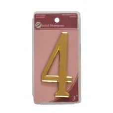 """3"""" Gold Effect Numeral 4"""