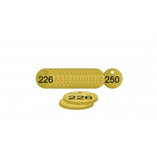 27mm dia. Brass Filled Tags (226 to 250)