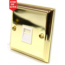 Victorian Brass Master Telephone Socket - White Switch