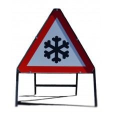 750mm tri. Dibond 'Snow and Ice' Road Sign (with channel)