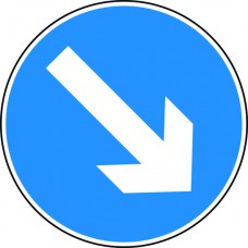 Keep right arrow - Classic Roll up traffic sign (750mm)