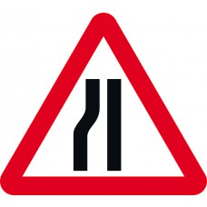 Road narrows nearside - TriFlex Roll up traffic sign (750mm Tri)