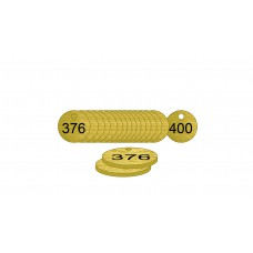 38mm dia. Brass Filled Tags (376 to 400)